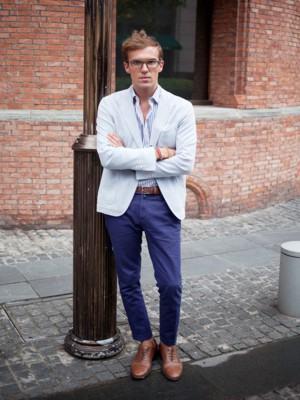 como usar blazer masculino azul claro