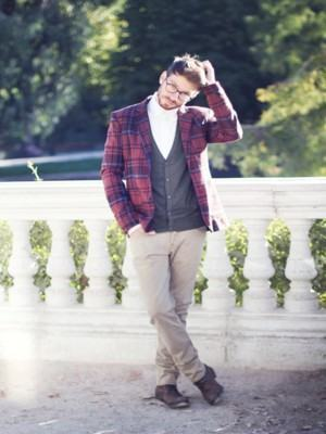 como usar blazer masculino xadrez