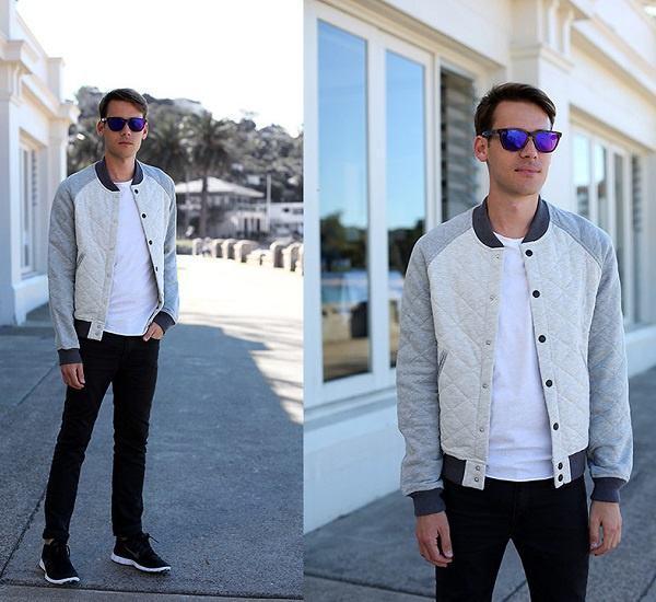 jaqueta college branca masculina cinza