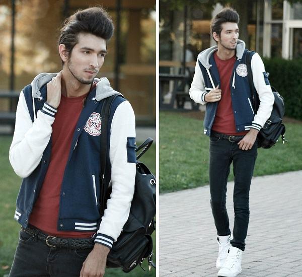 jaqueta college com capuz masculina
