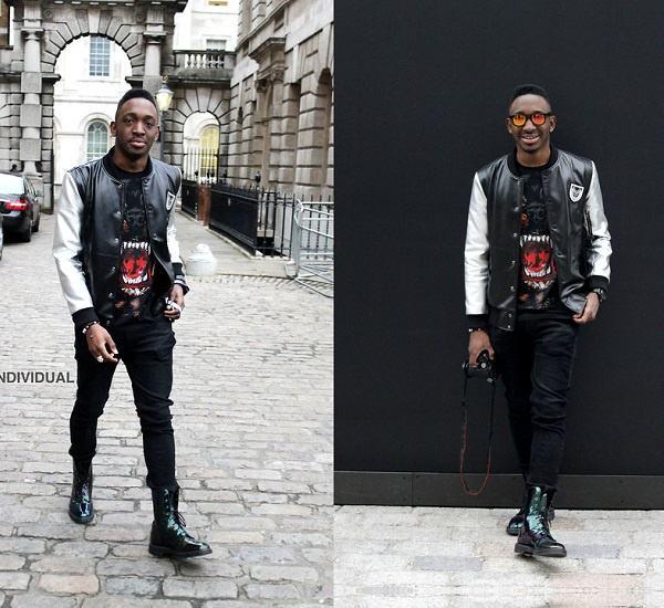jaqueta college de couro masculina