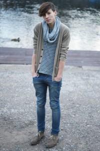foto cardigan masculino com cachecol