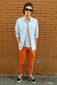 calça colorida masculina laranja