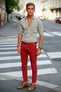calça colorida vermelha