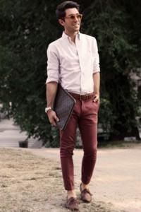 calça colorida vinho masculina