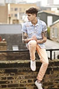 calça masculina coloorida laranja