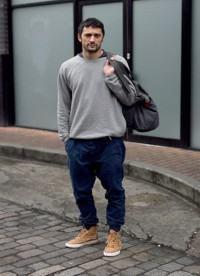 calça masculina colorida azul