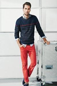 calça masculina colorida vermelha