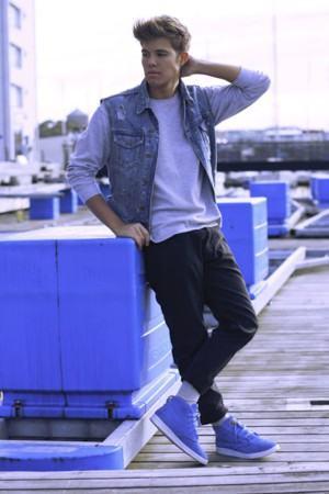 colete jeans claro masculino