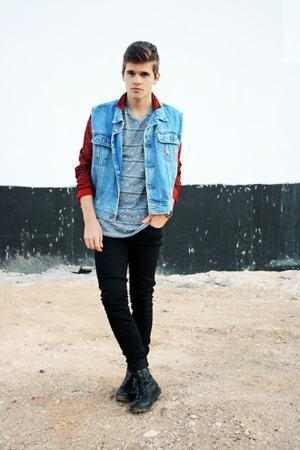 colete jeans homem