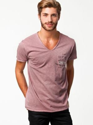 camisa gola v rosa