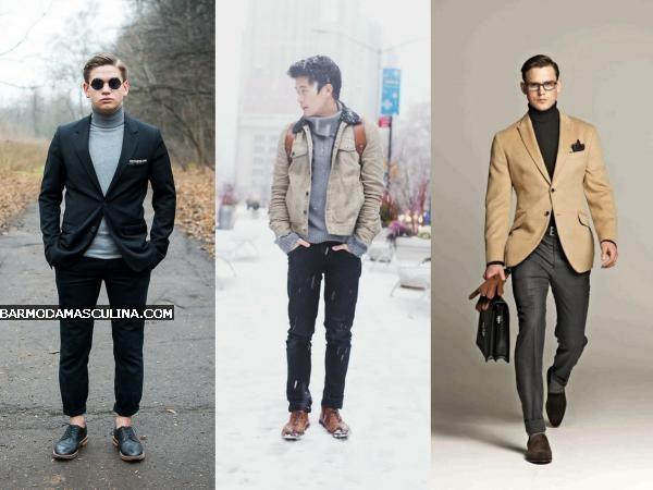 casaco gola alta masculina